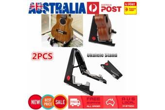 2PCS Folding Electric Acoustic Bass Guitar Stand Floor Rack Holder Black AU
