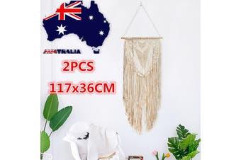 2PCS Macrame Knitted Rope Woven Tassel Wall Hanging Handmade Tapestry Bohemian