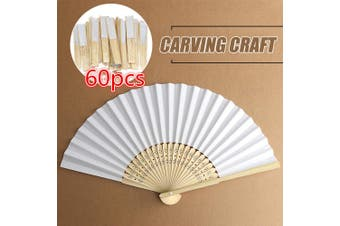 60Pcs/Set Chinese Style Folding Hand Held Fan Wedding Party Dance Bamboo K