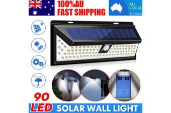 90 LEDs Wireless Solar PIR Motion Sensor Wall Light Outdoor Garden Waterproof AU