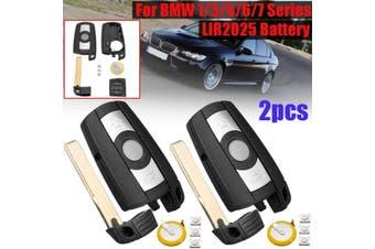 For BMW 1 3 5 6 7 Series E90 E92 E93 2pcs 3 Buttons Remote Key Fob With LIR2025 Battery