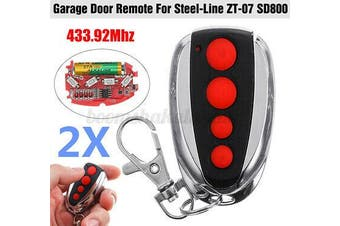 2x Garage Remote Control Compatible For Steel Line ZT-07 SD800 Opener