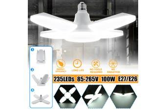 2Pcs 100W 235LED Ceiling Garage Light E26/E27 5400LM Deformable 6000K Lamp Adjustable Foldable Office Home Workshop Basement Warehouse Factory AC85-265V