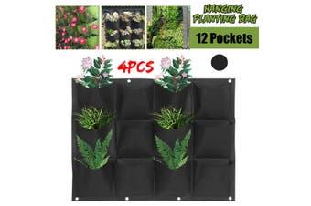 4x 12 Pocket Planter Outdoor Vertical Garden Wall Planting Hanging Bag for Herbs