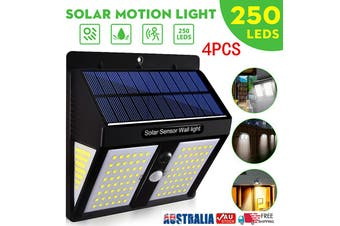 4PCS 250LED Solar Powered PIR Motion Sensor Light Garden Outdoor Security Lights