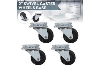 4x 2'' 50mm Metal Swivel Castor Wheels Base Heavy Duty Caster Top Plate Trolley(4PCS)