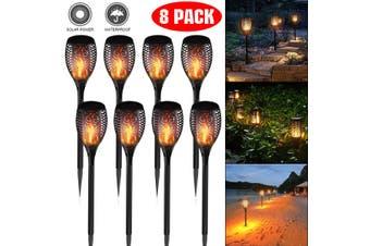 8 Pack LED Solar Flickering Torch Light Dancing Flame Garden Landscape Lamp AU M