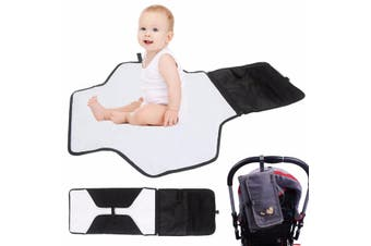 Washable Portable Baby Diaper Kids Pad Changing Mat Nappy Bag Storage Pocket Set(grey)