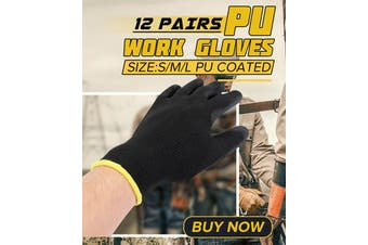 12 Pair Thin PU Nylon Safety Work Gloves Builders Palm Protect S/M/L