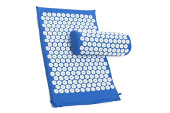 Massage Acupressure Mat Yoga Sit Lying Mats Cut Pain Stress Soreness Relax + Pillow(BLUE)