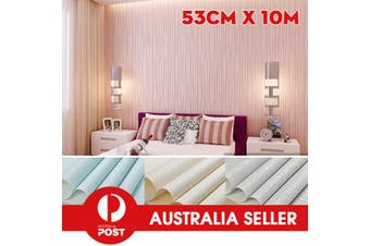 Non-woven 3D Luxury Stripe Embossed Wallpaper Home Decor Wall Paper Roll Pink/Blue/White/Sliver