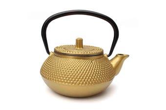 300ml/10.15oz Japanese Style Cast Iron Kettle Teapot & Strainer Tea Pot Gold