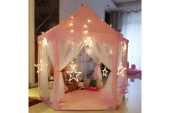 Teepee Kids Play Tent Large Cotton Playhouse Princess PINK Castle Wigwam Gifts