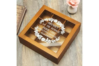 Jeteven 9 Slots Wooden Chic Spice Tea Box Compartments Container Storage Jewelly Holder
