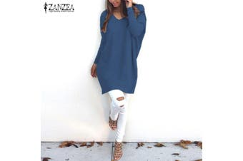 ZANZEA Women Plus Size Tunic Top Blouse Pullover Jumper Club Party Sweater Dress(blue,5XL)