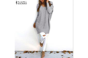 ZANZEA Women Plus Size Tunic Top Blouse Pullover Jumper Club Party Sweater Dress(grey,XXXL)