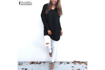 ZANZEA Women Plus Size Tunic Top Blouse Pullover Jumper Club Party Sweater Dress(black,L)