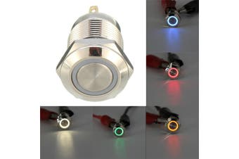 4 Pin 12mm Led Light Stainless Steel Push Button Momentary Switch 12V Sliver