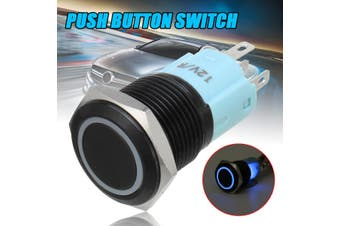 12V 16mm Car Boat LED Light Horn Waterproof Momentary Steel Metal Push Button Switch