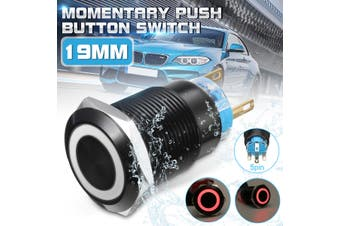 12V 19mm Black Momentary Push Button Switch Angle Eye Flat Head 5 Pins Multicolor