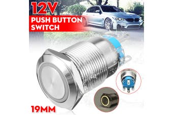Chrome 5 Pin 19mm Led Light Metal Push Button Latching Switch Waterproof 12v