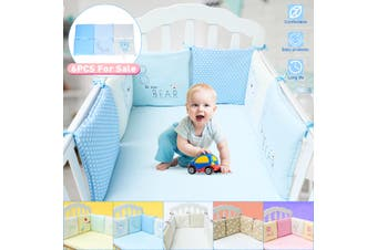 6Pcs Comfortable Baby Infant Bed Cotton Bumper Crib Protector Cushion Safety Nursery Bedding 30X30cm(beige,F)