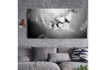 Black & White Love Kiss Abstract Canvas Painting Print Picture Wall Decor Art UK # 100*60cm