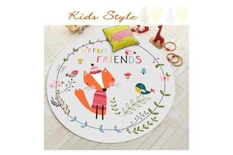 Small Fox Wreath Pattern# Child Room Round Carpet Yoga Mat Non-slip Floor Mats Area Rug Cartoon # 80cm