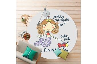 Mermaid# Child Room Round Carpet Yoga Mat Non-slip Floor Mats Area Rug Cartoon # 80cm