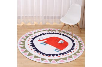 Elephant# Child Room Round Carpet Yoga Mat Non-slip Floor Mats Area Rug Cartoon # 80cm