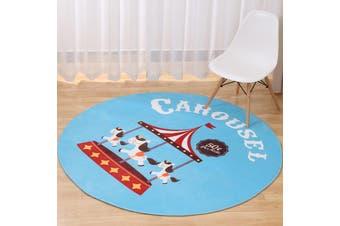 Carousel# Child Room Round Carpet Yoga Mat Non-slip Floor Mats Area Rug Cartoon # 80cm