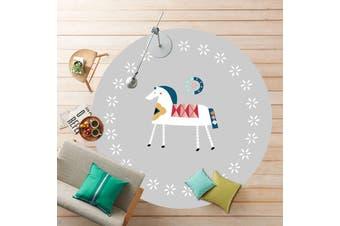 Ethnic Customs Pony# Child Room Round Carpet Yoga Mat Non-slip Floor Mats Area Rug Cartoon # 80cm