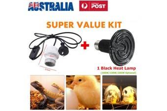 100W E27 Infrared Ceramic Heat Emitter Lamp + Holder Socket Reptile Pet
