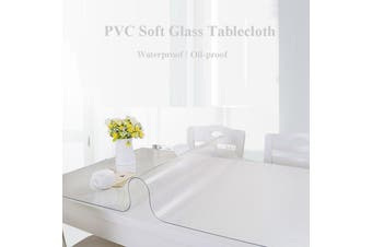 PVC Wipe Clean Transparent Tablecloth Table Protection Cover Glass Waterproof Mat PVC Glass Effect Table Protection Cover 160x90cm(70x120)