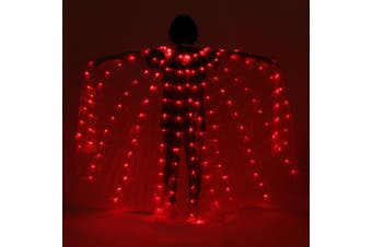 LED Womens Isis Wings Glow Light Up Belly Dancing Club Costumes Red