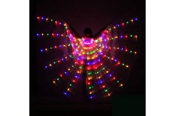 LED Womens Isis Wings Glow Light Up Belly Dancing Club Costumes colorful