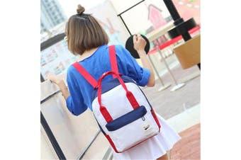 Women Canvas Backpack Travel Satchel Rucksack Girls Shoulder School Bag Handbag Red White