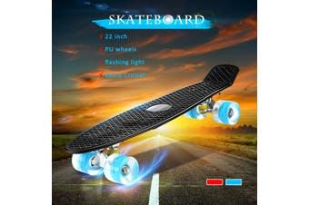 Blue / Red / Black -- LED Light Up 22'' Fish Skateboard Cruiser Complete Deck 4 PU Casters Sturdy Deck