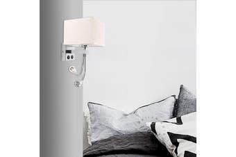 Aluminum Fabric Wall Sconce Light Lamp Wall Fixture Beding Room LED Reading Lamp(2 LED Light)