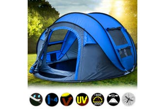 Instant Open up 5 Person Camping Tent Waterproof Family Backpacking Hike Tent Blue