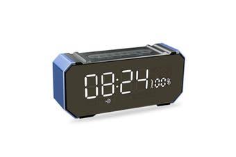Alarm Clock USB Portable Wireless LED bluetooth V4.2 Speaker Stereo Soundbar Music Stereo AUX FM Radio Handsfree Music Player Sky Blue