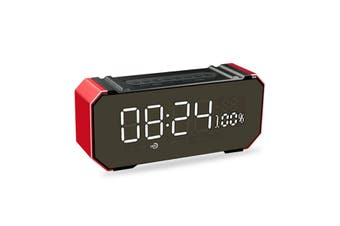 bluetooth Portable Wireless LED Speaker Stereo Soundbar Music Stereo Alarm Clock USB AUX FM Radio Handsfree Music Player Red