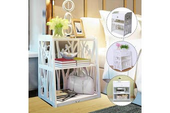 White Bedside Bedroom Table Storage Cabinet Organizer Shelving Rack Drawer
