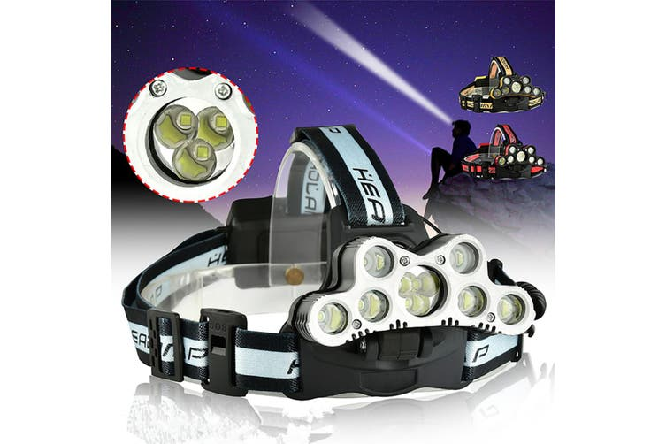 6-mode Dimming Flashlight 100000 LM 9xt6 LED Headlamp USB Rechargeable Flashlight
