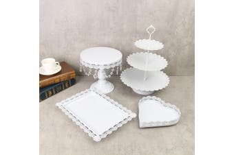 4Pcs/Set Crystal White Gold Metal Cake Holder Cupcake Stand Wedding Display