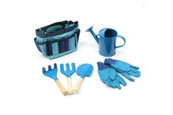 6Pcs Kids Gardening Set Wooden Metal Children Garden Tools Spade Fork Bag Shovel