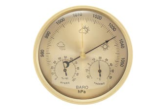 3 IN 1 132mm Wall Hanging Weather Thermometer Barometer Hygrometer Home Decor Gold
