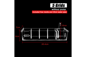 Grids Acrylic Aquarium Fish Tank External Hang On Filter Box Without Pump # 5Grids