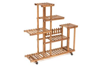 Bamboo Wooden Plant Stand Indoor Outdoor Garden Planter Flower Pot Stand Shelf(Without Wheel)