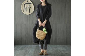 Women Cotton Linen Dress Ladies Crew Neck Long Sleeve Asymmetric Hem Loose Long Dress (black,M)